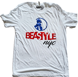 White Tee with Blue/Red Gorilla Beastyle Graphic