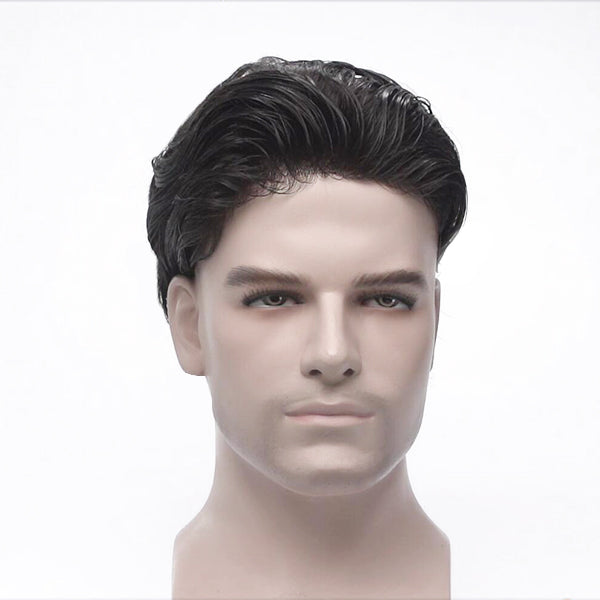 Fine Mono and PU Stock Base Realistic Men's Real Human Hair Wig