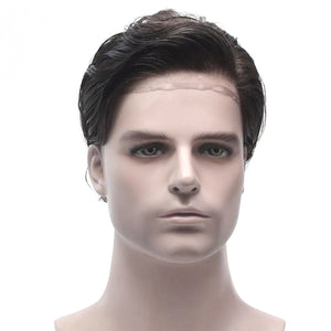 Full French Lace Base Male Realistic Toupee Hairpiece