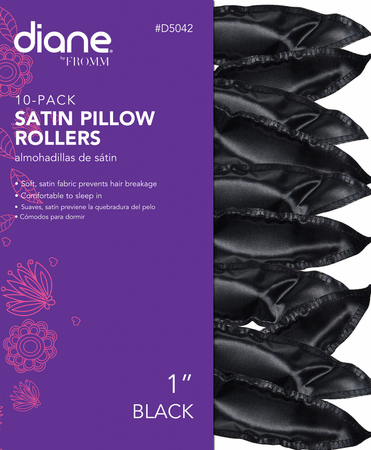 Soft Curlers Satin Pillow Hair Rollers Black Color 10-pk