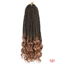Load image into Gallery viewer, Crochet Box Braids With Wavy Ends Ombre Synthetic Hair for Braid 22 Strands 18/ 24/ 14 Inch