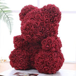 WINE RED ROSE BEAR