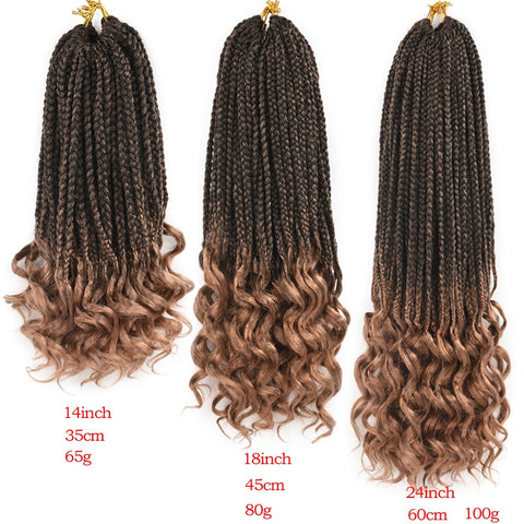 Crochet Box Braids With Wavy Ends Ombre Synthetic Hair for Braid 22 Strands 18/ 24/ 14 Inch