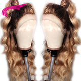 Ombre Brazilian Lace Front Human Hair Wigs With Baby Hair Body Wave