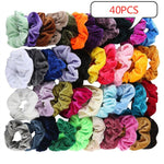 40/36/12/50 PCS Hair Accessories Women Scrunchie Ponytail Holder Flower Scrunchies Pack Hair Ties Elastics Hair Bands for Girls