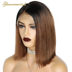 Short Bob Wig Straight Human Hair Front Lace Cap Pre-Plucked Hairline
