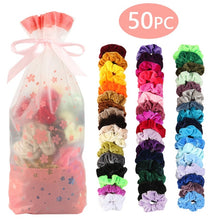 Load image into Gallery viewer, 50 PC/Pak Colors Vintage Hair Scrunchie Pack Stretchy Velvet Scrunchies Women Elastic Hair Bands Girl Headwear