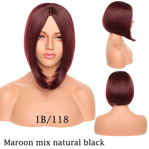 Straight Synthetic Bob Wig Middle Part Hairline 12inch