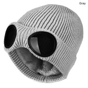 Winter Hat Knitted Ski Cap Warm Windproof  With Removable Glasses
