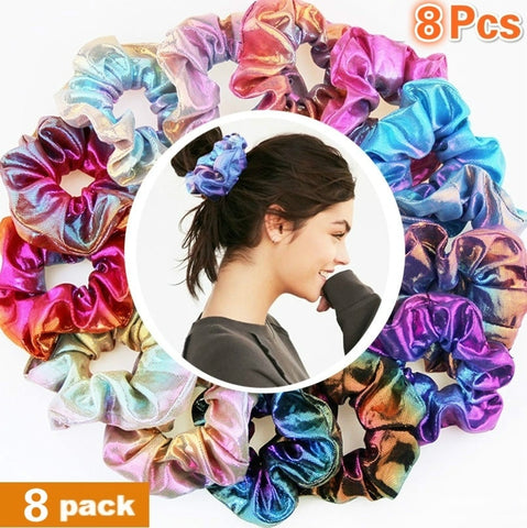 8 Pieces Shiny Metallic Glitter Scrunchies , Girls Hair Scrunchies , Scrunchie Elastics Hair Tie for Women