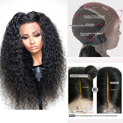 Lace Front Brazilian Remy Human Hair Wig Fake Scalp PrePlucked Bleached Knots Curly Wave Wig 13x6