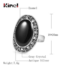 Load image into Gallery viewer, Oval Black Enamel Ring For Women Antique Silver Crystal