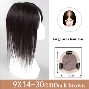 Best Human Hair Toppers For Thinning Hair Women's Straight Clip-in U Part Closure Silk Base Toupee For Women Replacement Hairpiece
