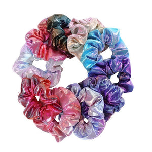 10 PCS Glitter Scrunchie Hair Band Women Headband Shiny Rubber Bands Elastic Hair Ring Girls Hair Accessories Headwear