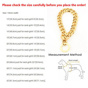 Dog Collar Gold Chain Leash 15mm Metal For Dogs Training Choke Chain