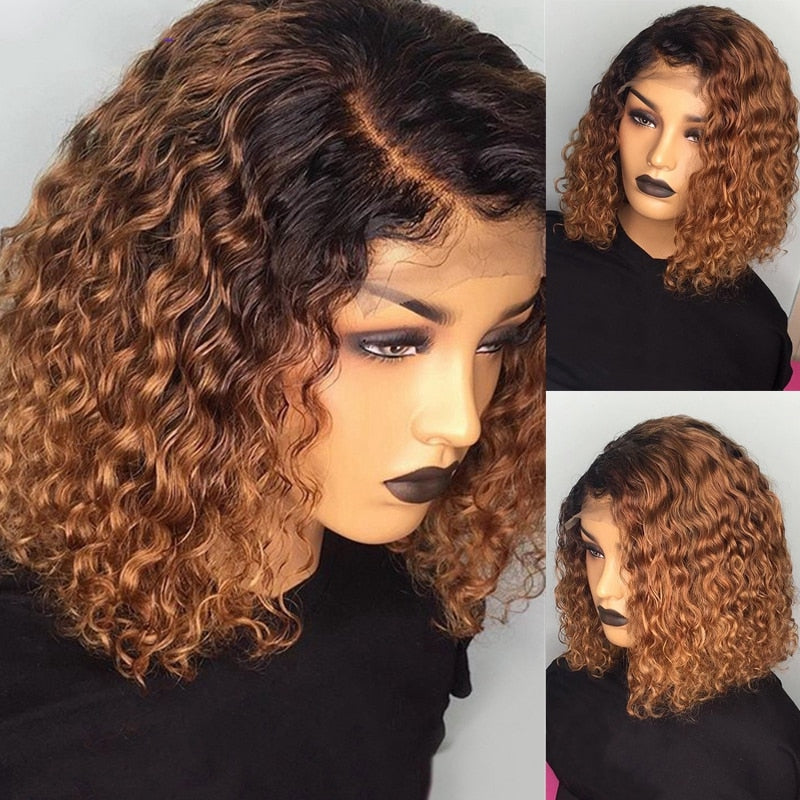 Water Wave Bob Wigs For Black Women Short Curly Lace Front Brazilian Human Hair Wigs 1B/27