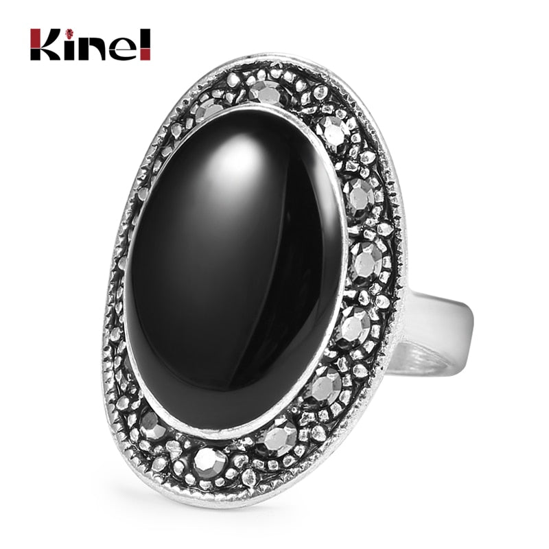 Oval Black Enamel Ring For Women Antique Silver Crystal