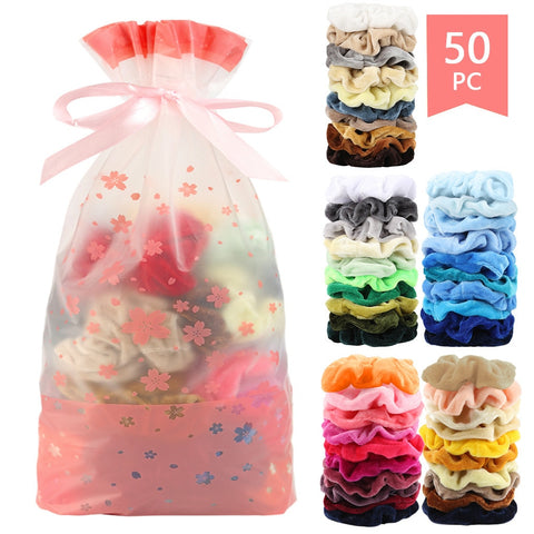 50 Pcs Velvet Hair Scrunchies Stretchy Velvet Scrunchie Pack Women Elastic Hair Bands Girl Headwear Plain Rubber Hair Ties