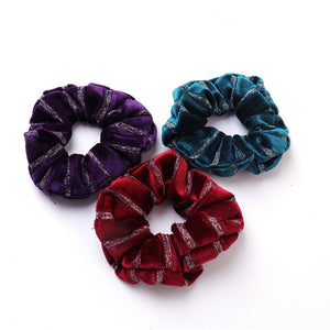 Fashion Stripe Velvet Scrunchies For Women Girls Elastic Hair Bands Ponytail Holder Hair Accessories
