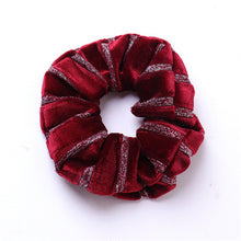 Load image into Gallery viewer, Fashion Stripe Velvet Scrunchies For Women Girls Elastic Hair Bands Ponytail Holder Hair Accessories