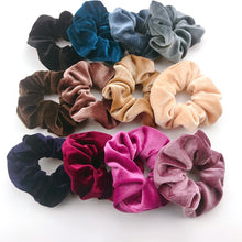 Load image into Gallery viewer, Solid Color Velvet Scrunchies Ring Elastic Hair Bands Soft Hairband Women Hair
