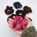 Solid Color Velvet Scrunchies Ring Elastic Hair Bands Soft Hairband Women Hair