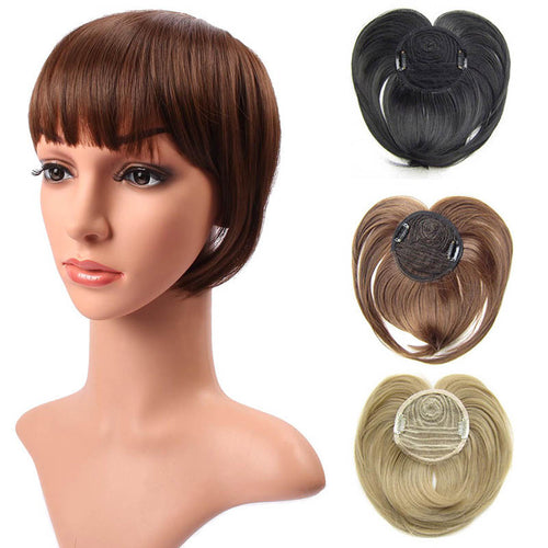 Blunt Cut Hairpiece Topper With Clip-in Middle Parting Bangs