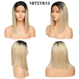"Ombre BOB Wig Lace Front Synthetic Hair 14"" Middle Side Parting"