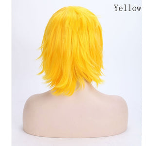 Short Cosplay Wig Anime Hair Red With Bangs For Party