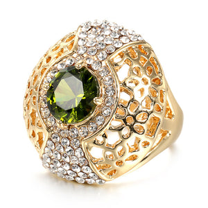 Fashion Gold Opal Green Ring For Woman Party Crystal Vintage Jewelry