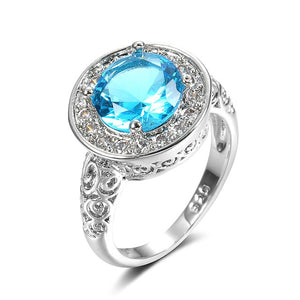 Fashion Silver Ring For Woman Party Crystal Vintage