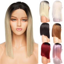 "Load image into Gallery viewer, Ombre BOB Wig Lace Front Synthetic Hair 14"" Middle Side Parting"