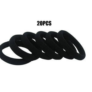 Large Black Elastic Hair Ties Ponytail Rubber Bands Scrunchies for Women 20 PCS