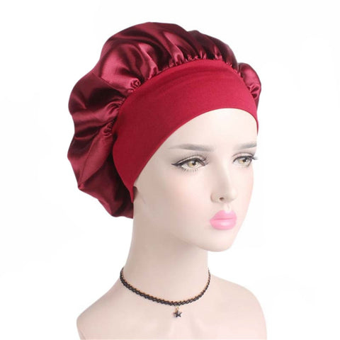 Women Satin Sleep Cap Cover Hair Bonnet Hat Silk Head Wide Elastic Band  1 PC