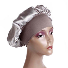 Load image into Gallery viewer, Women Satin Sleep Cap Cover Hair Bonnet Hat Silk Head Wide Elastic Band  1 PC