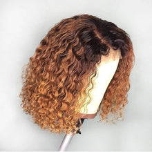 Load image into Gallery viewer, Water Wave Bob Wigs For Black Women Short Curly Lace Front Brazilian Human Hair Wigs 1B/27