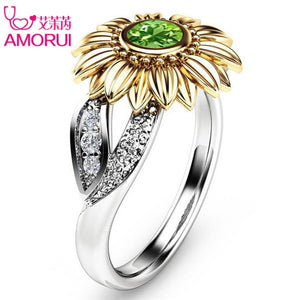 Sunflower Engagement Ring  For Women 10 Colors Copper