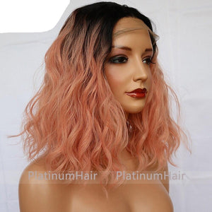 Short Bob Lace Front Wigs Pink Color Wig Heat Resistant