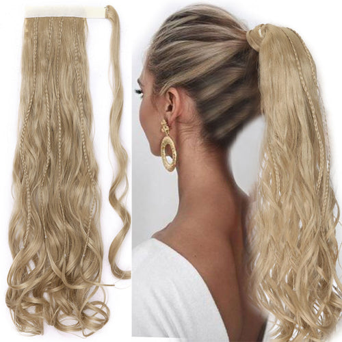 Clip in Ponytail Hair Extension With Braids Hair Wrap