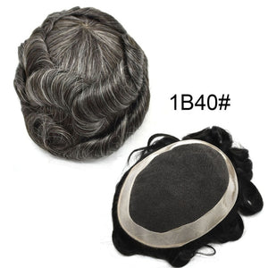 Mens Toupees Hair Replacement System Breathable Lace Front Poly Around