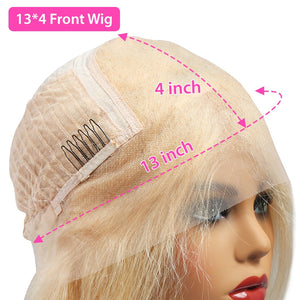 Lace Front Human Hair Wigs Straight Short Bob 613 Ombre Blonde 13X4 HD
