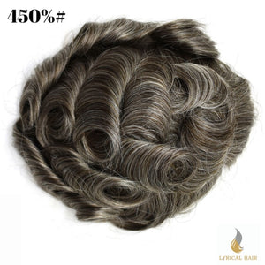 "Mens Toupee Hairpiece 100% Human Hair Replacement System Fine Mono Size : 7"" x 10"""
