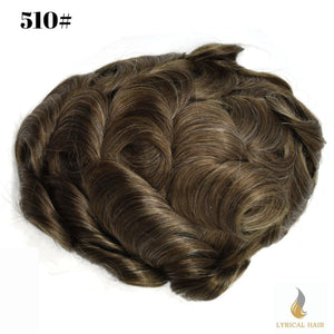 "Mens Toupee Hairpiece 100% Human Hair Replacement System Fine Mono Size : 9""x 11"""