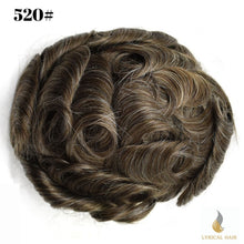 "Load image into Gallery viewer, Mens Toupee Hairpiece 100% Human Hair Replacement System Fine Mono Size : 8"" x 10"""