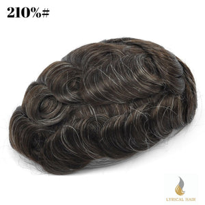 "Mens Toupee Hairpiece 100% Human Hair Replacement System Fine Mono Size : 7"" x 9"""