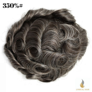 "Mens Toupee Hairpiece 100% Human Hair Replacement System Fine Mono Size : 8"" x 10"""