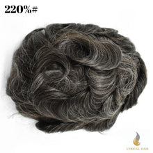 "Load image into Gallery viewer, Mens Toupee Hairpiece 100% Human Hair Replacement System Fine Mono Size : 9""x 11"""