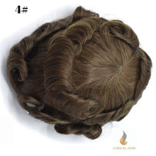 "Load image into Gallery viewer, Mens Toupee Hairpiece 100% Human Hair Replacement System Fine Mono Size : 7"" x 10"""