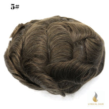 "Load image into Gallery viewer, Mens Toupee Hairpiece 100% Human Hair Replacement System Fine Mono Size : 7"" x 9"""
