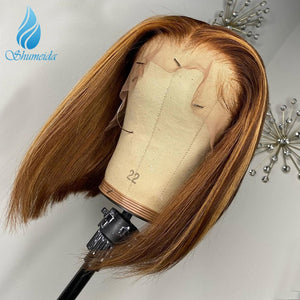 Middle Part Bob Lace Wig Short Highlight Blonde
